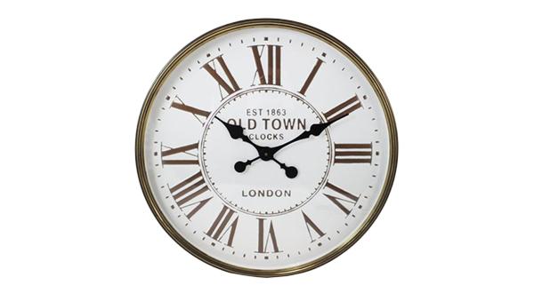 Round White & Bronze Clock