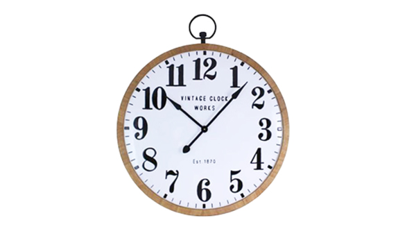 Round Clock With White Face and Wood Trim