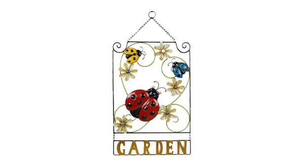 Hanging Ladybug Garden Sign