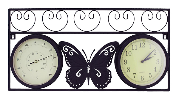 Black Metal Butterfly Wall Clock/ Thermometer