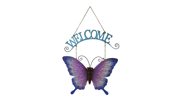 Welcome Hanging Butterfly Sign