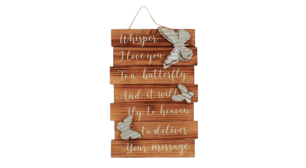 Butterfly Whispers Wood Wall Plaque