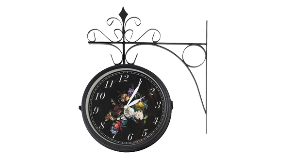 Double Sided Floral Outdoor Clock/Thermometer