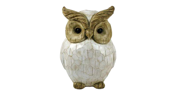 Distressed White Carved Owl